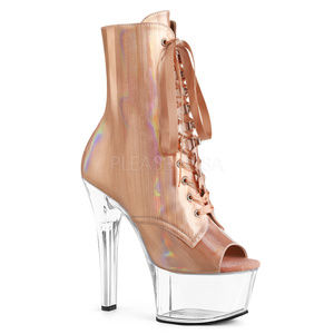 6 Inch High Heel Lace Up Rose Gold Ankle Boots